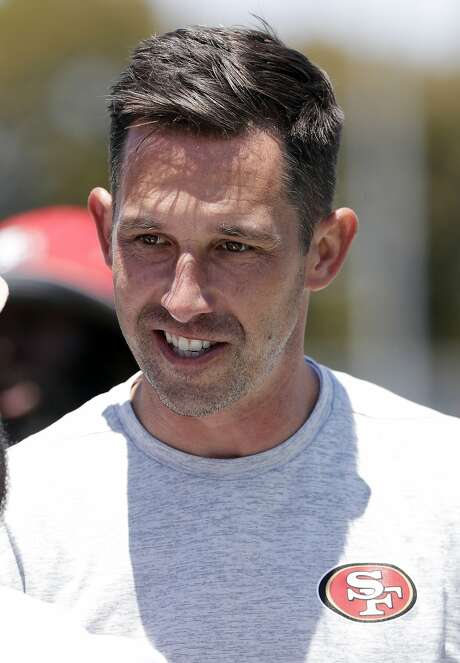 San Francisco 49ers head coach Kyle Shanahan smiles during NFL football practice at the team's training facility Tuesday, June 13, 2017, in Santa Clara, Calif. (AP Photo/Marcio Jose Sanchez) Photo: Marcio Jose Sanchez, Associated Press