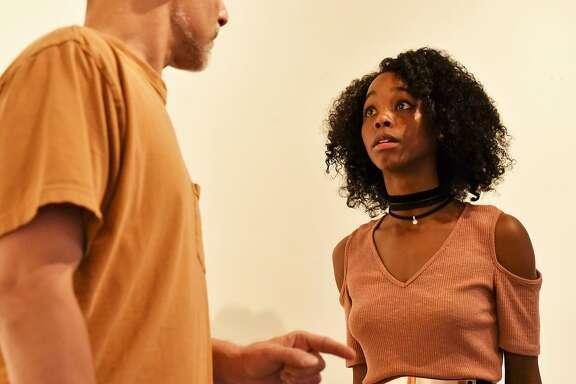 "Garth Petal and Jamella Cross in Virago Theatre Company's ""The Edge of the World."""