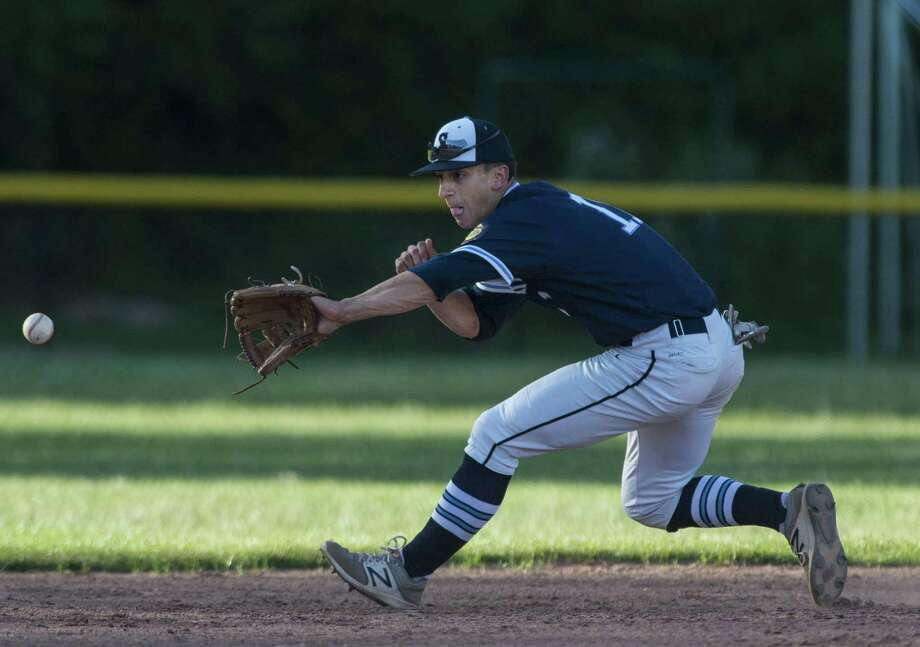 Stamford Senior Legion shortstop Dean DePreta fields a ground ball during a baseball game against Fairfield Senior Legion played at Westhill High School, Stamford, CT. Wednesday, June 14, 2017. Photo: Mark Conrad / For Hearst Connecticut Media / Connecticut Post Freelance