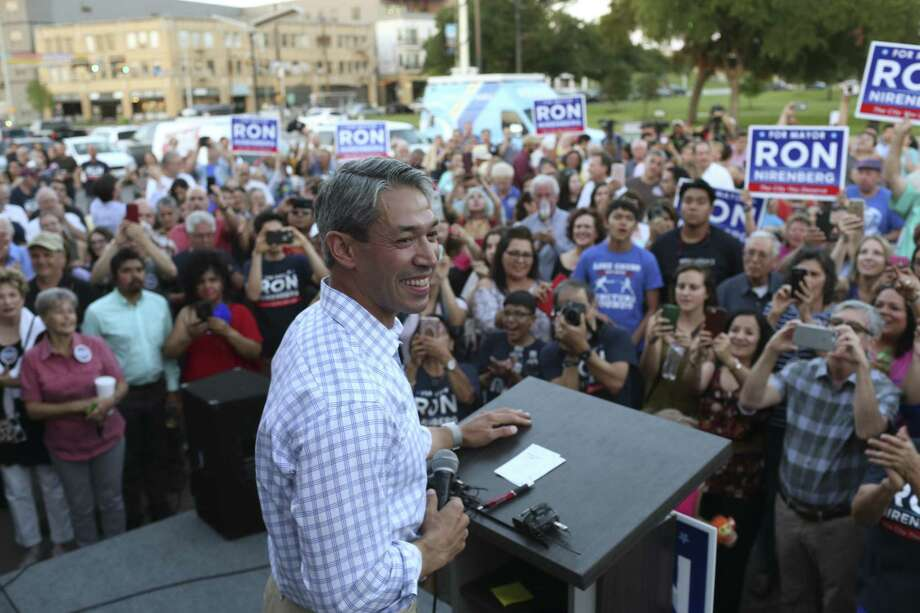 San Antonio mayoral candidate Ron Nirenberg smiles as he gets to the podium to address a jubilant crowd at his campaign headquarters, Saturday, June 10, 2017. Early results in the run off election against Mayor Ivy Taylor, Nuremberg held a nine-point lead. Photo: JERRY LARA / San Antonio Express-News / © 2017 San Antonio Express-News