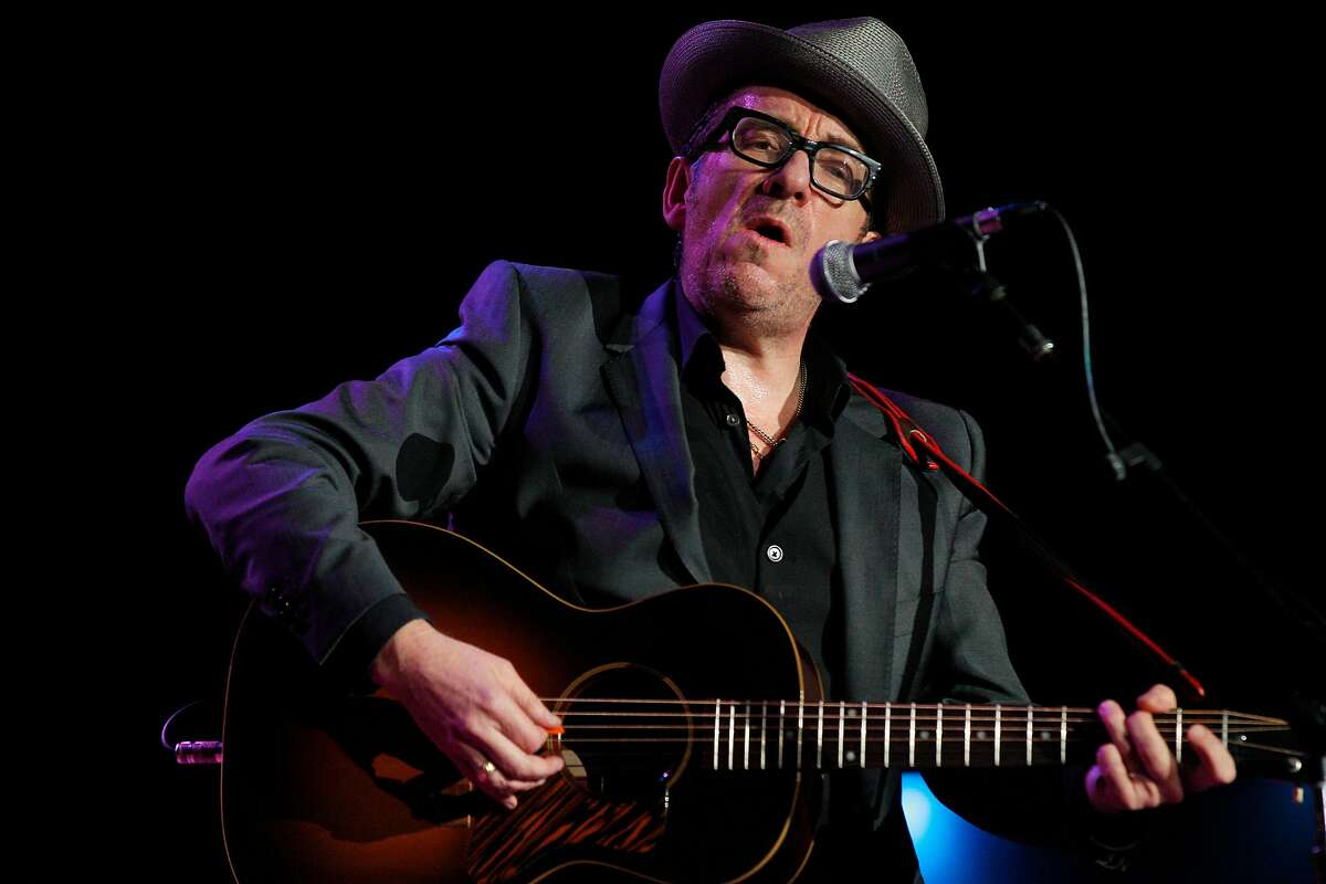 Elvis Costello performs during Neil Young's annual Bridge School benefit concert October 26, 2013 at Shoreline Amphitheater in Mountain View, Calif.