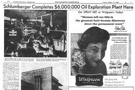 Houston Chronicle inside page - April 17, 1953 - section B, page 7. Schlumberger Completes $6,000,000 Oil Exploration Plant Here
