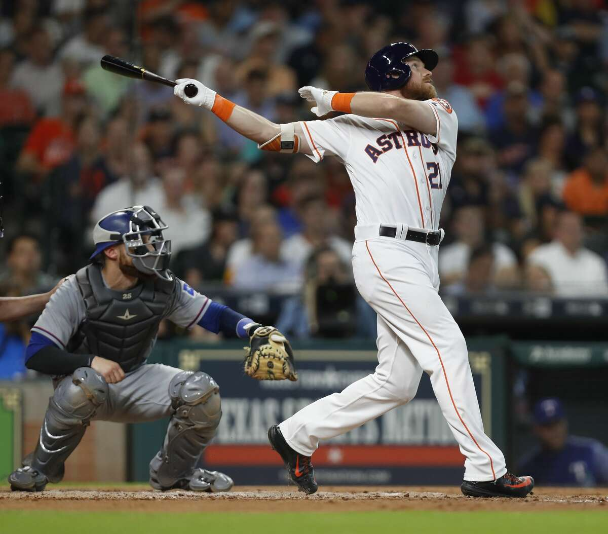 Houston Astros Derek Fisher (21) watches his ball fly out near the left field wall during his first at bat in the second inning of an MLB game at Minute Maid Park, Wednesday, June, 14, 2017. ( Karen Warren / Houston Chronicle )
