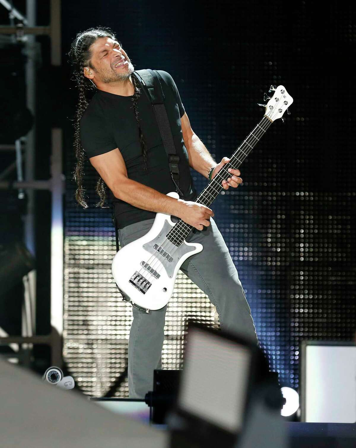 Metallica performs at the Alamodome as part of their North American WorldWired Tour on Wednesday, June 14, 2017. Band members Robert Trujillo (pictured) along with James Hatfield, Lars Ulrich and Kirk Hammett rocked the Alamodome crowd into a frenzy as they kicked off the show with a short video rendition of The Unforgiven then the band roared with Hardwired followed with Atlas, Rise! and then For Whom the Bell Tolls.