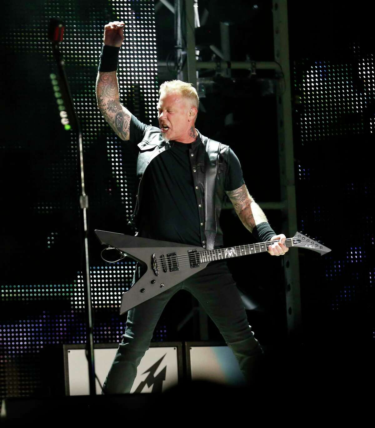 Metallica performs at the Alamodome as part of their North American WorldWired Tour on Wednesday, June 14, 2017. Band members James Hatfield, Robert Trujillo, Lars Ulrich and Kirk Hammett rocked the Alamodome crowd into a frenzy as they kicked off the show with a short video rendition of The Unforgiven then the band roared with Hardwired followed with Atlas, Rise! and then For Whom the Bell Tolls.