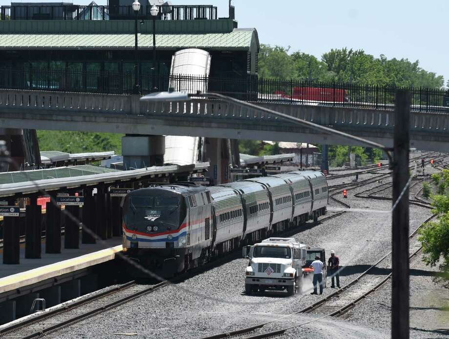 An Amtrak train is refueled at Albany-Rensselaer Train Station on Wednesday, June 14, 2017, in Rensselaer, N.Y. (Will Waldron/Times Union) Photo: Will Waldron