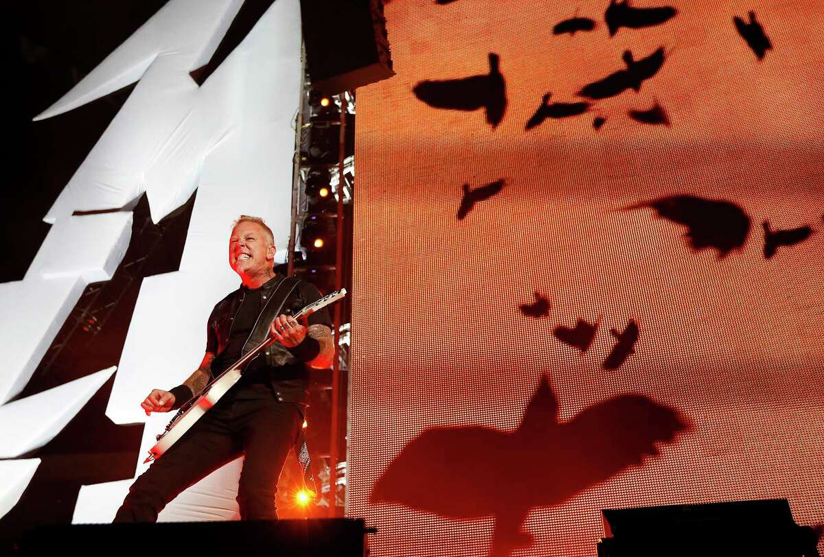 Metallica performs at the Alamodome as part of their North American WorldWired Tour on Wednesday, June 14, 2017. Band members James Hatfield (pictured), Robert Trujillo, Lars Ulrich and Kirk Hammett rocked the Alamodome crowd into a frenzy as they kicked off the show with a short video rendition of The Unforgiven then the band roared with Hardwired followed with Atlas, Rise! and then For Whom the Bell Tolls.