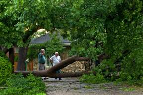 """Stacy Wright, left, surveys damage to his home with his neighbor Jimmy Allen after wind and rain passed through Midland on June 14, 2017. """"I guess I'm gonna get a chainsaw,"""" said Wright, who plans to remove the tree himself. James Durbin/Reporter-Telegram"""