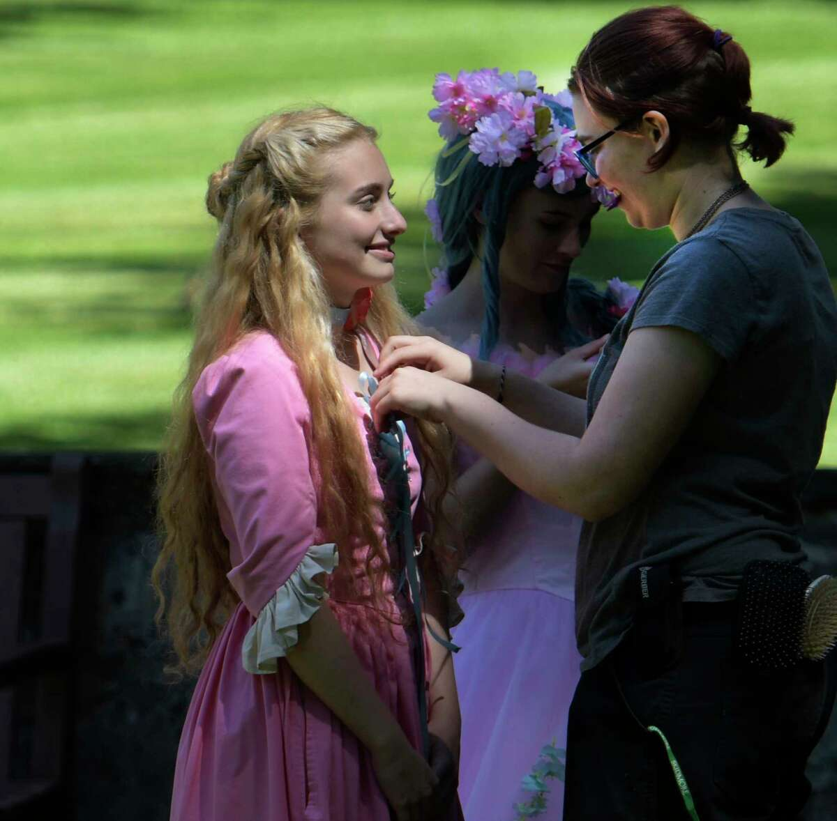 Actor Demetria Zorbas, 14 has her costume adjusted during the production of Rapunzel for Amazon TV which is underway on North Broadway Wednesday June 14, 2017 in Saratoga Springs, N.Y. (Skip Dickstein/Times Union)