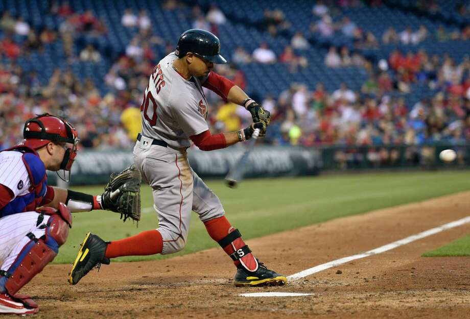 Boston Red Sox's Mookie Betts hits a solo home run off Philadelphia Phillies' Jeremy Hellickson during the fourth inning of a baseball game, Wednesday, June 14, 2017, in Philadelphia. (AP Photo/Derik Hamilton) ORG XMIT: PXS109 Photo: Derik Hamilton / FR170553 AP
