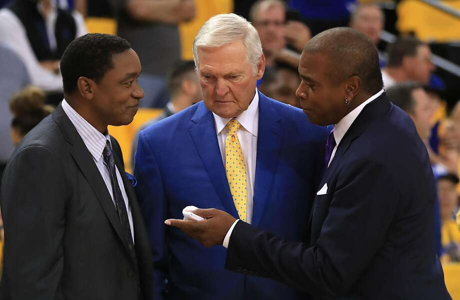 OAKLAND, CA - JUNE 01:  (L-R) Former NBA players Isiah Thomas and Jerry West speak with Ahmad Rashad prior to Game 1 of the 2017 NBA Finals between the Golden State Warriors and the Cleveland Cavaliers at ORACLE Arena on June 1, 2017 in Oakland, California. NOTE TO USER: User expressly acknowledges and agrees that, by downloading and or using this photograph, User is consenting to the terms and conditions of the Getty Images License Agreement.  (Photo by Ezra Shaw/Getty Images) Photo: Ezra Shaw, Getty Images