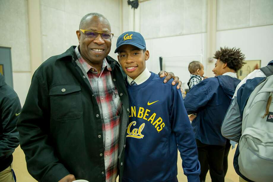 Former Giants manager Dusty Baker poses with his son Darren after Darren signed to play baseball at Cal. Photo: Courtesy Jesuit High School