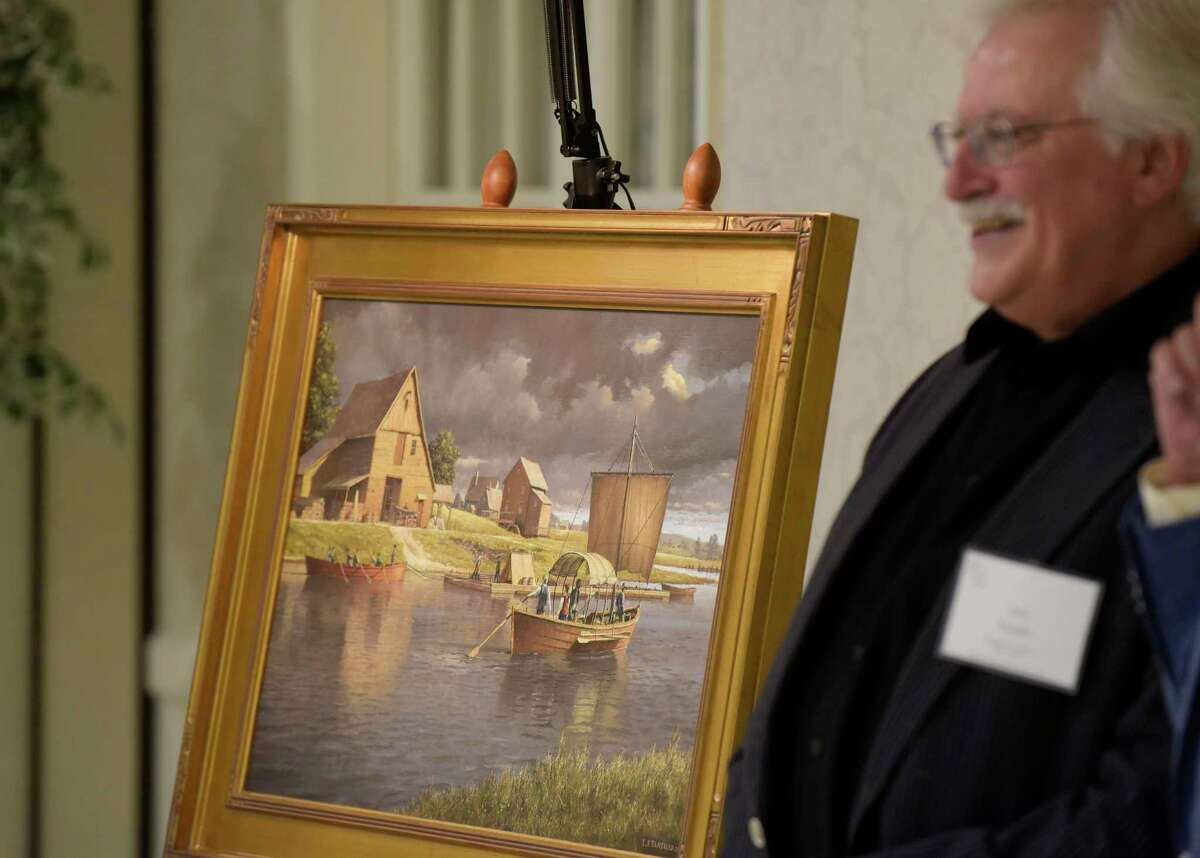 """Artist Len Tantillo stands next to his new painting titled, ?""""Saratoga, 1745: A Settlement on the Hudson River,?"""", at the Colonie Senior Service Center?'s Legacy Circle of Service Luncheon at the Beltrone Living Center on Wednesday, June 14, 2017 in Albany, N.Y. Tantillo unveiled the painting at the event. (Paul Buckowski / Times Union)"""