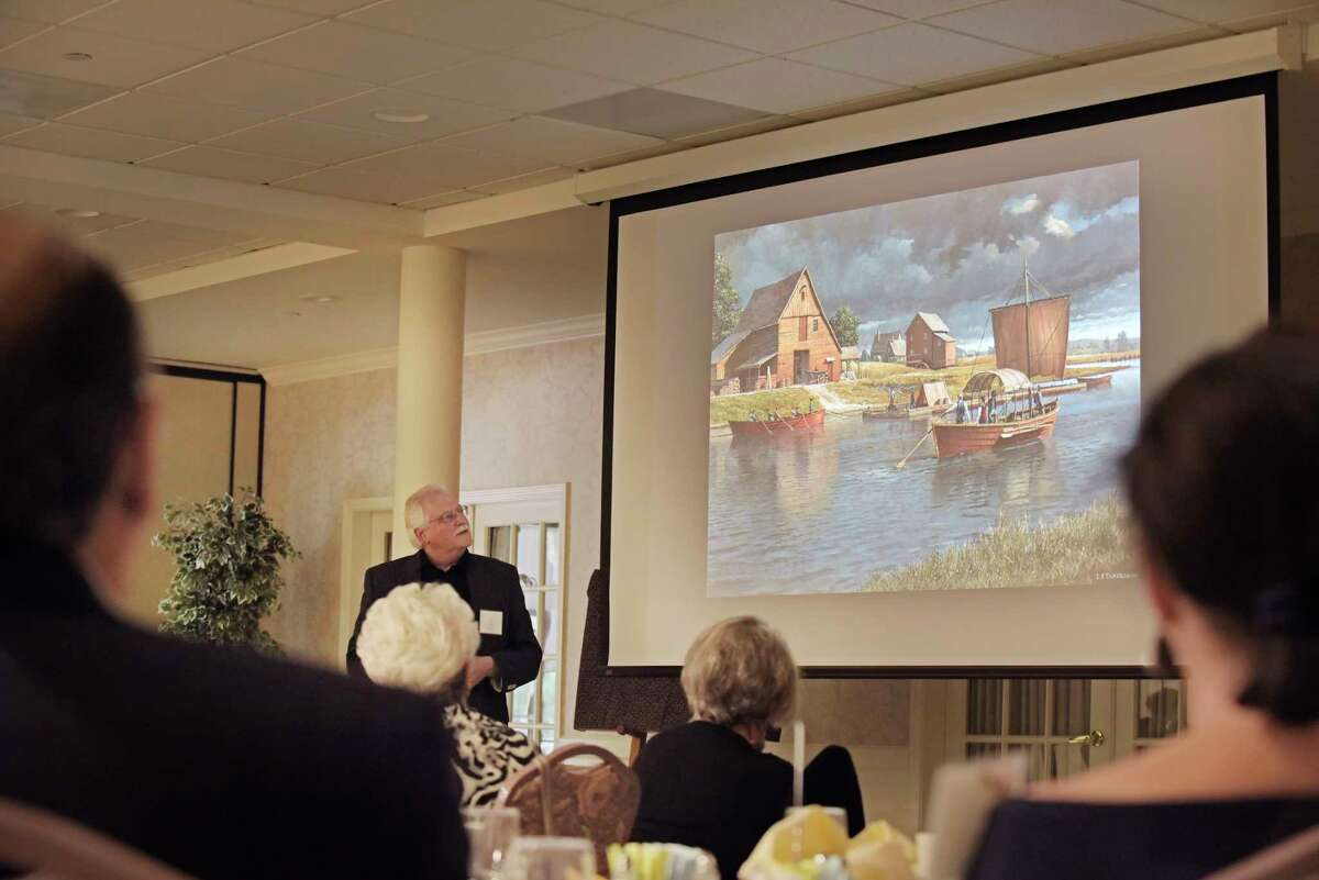 Artist Len Tantillo talks about his new painting titled, OSaratoga, 1745: A Settlement on the Hudson River,O, at the Colonie Senior Service CenterOs Legacy Circle of Service Luncheon at the Beltrone Living Center on Wednesday, June 14, 2017 in Albany, N.Y. Tantillo unveiled the painting at the event. (Paul Buckowski / Times Union)