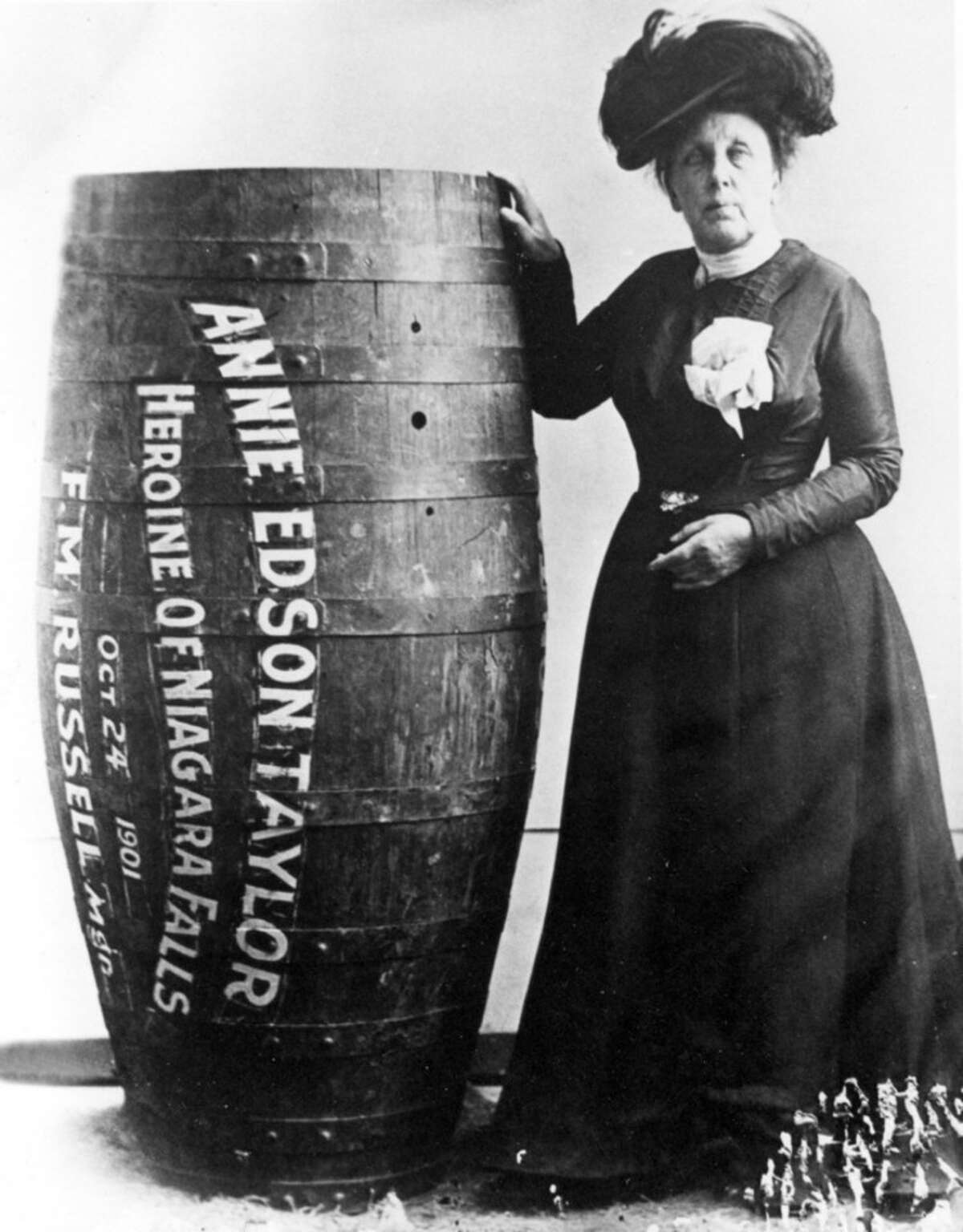 Here are a few other times Niagara Falls stunts have made headlines. Photograph Annie Edson Taylor, the first person to survived a trip over Niagara Falls in a barrel on 24 October 1901. By Unknown - Francis J. Petrie Photograph Collection, Public Domain, https://commons.wikimedia.org/w/index.php?curid=4392220