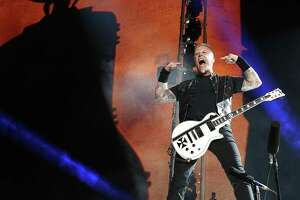 Singer and guitarist Hetfield was the center of attention when Metallica returned to San Antonio.