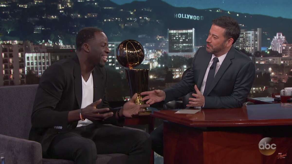 Draymond Green on Jimmy Kimmel Live on Wednesday night. Click ahead to see pictures of the Warriors partying after their NBA title win.