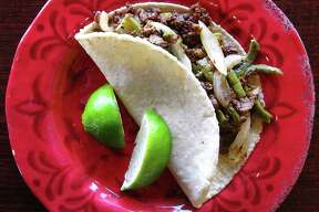 Taco of the Week: Taco Estilo GTO with beef, chorizo, grilled onions and nopales on a handmade corn tortilla from Las Sabrosas de Guanajuato.