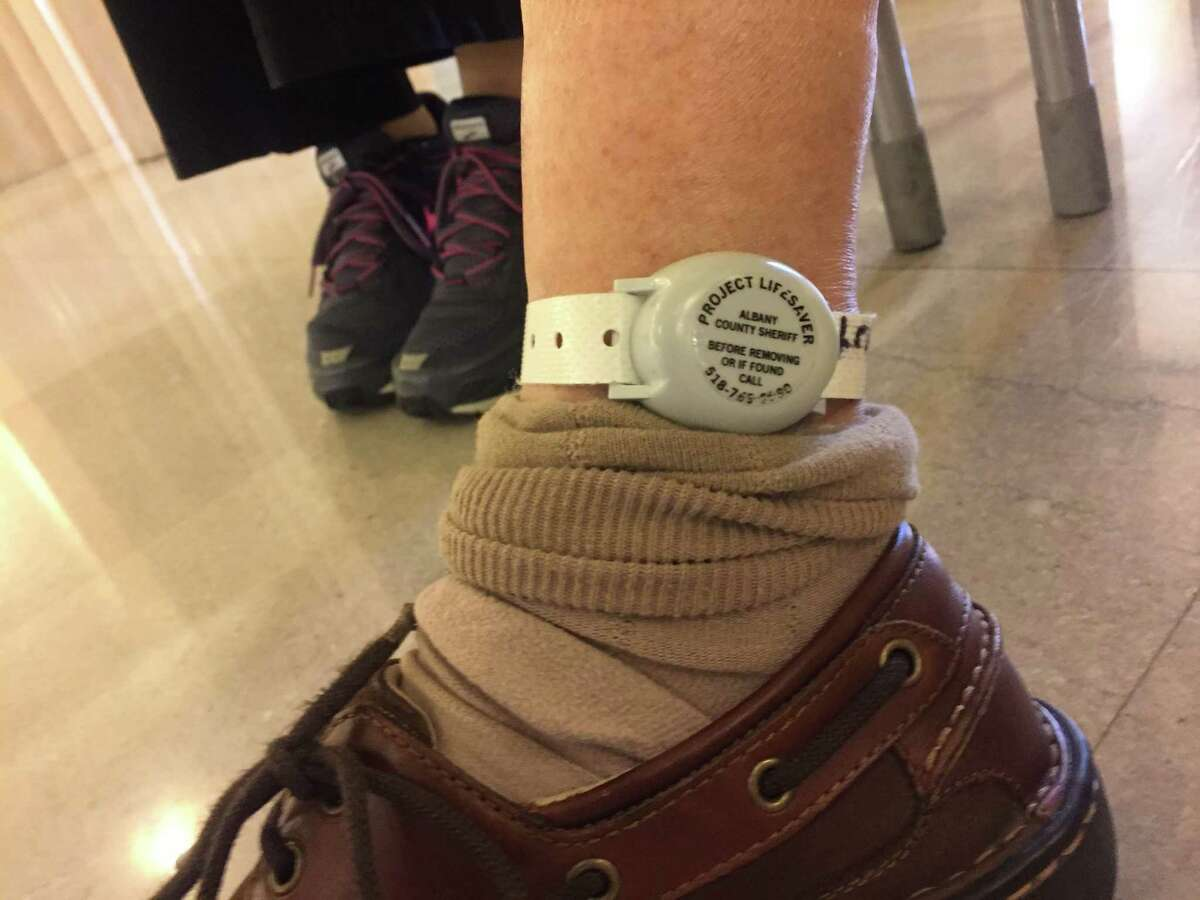 Frank DiCesare wears a Project Lifesaver transmitter near his ankle.