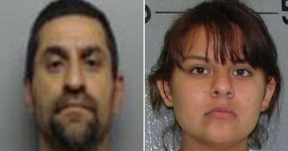 Sergio San Miguel, 49, and Christine Castillo-San Miguel, 27, were arrested and charged with aggravated assault with a deadly weapon. Photo: Webb County Sheriff's Office