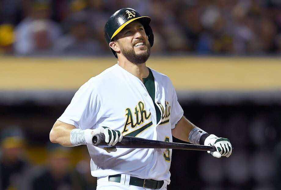 OAKLAND, CA - MAY 19:  Trevor Plouffe #3 of the Oakland Athletics reacts after striking out swinging against Chris Sale #41 of the Boston Red Sox in the bottom of the six inning at Oakland Alameda Coliseum on May 19, 2017 in Oakland, California.  (Photo by Thearon W. Henderson/Getty Images) Photo: Thearon W. Henderson, Getty Images