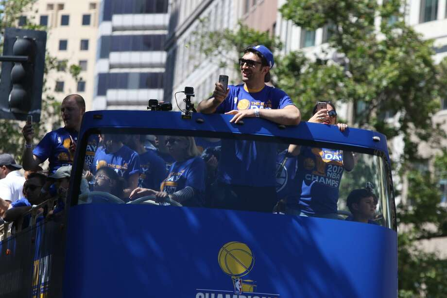 Zaza Pachulia at the Warriors victory parade in Oakland on June 15, 2017. Photo: SFGate / Douglas Zimmerman