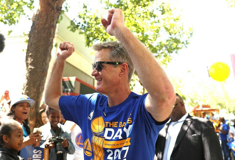 Golden State Warriors' head coach Steve Kerr acknowledges the cheers during championship parade on Broadway in Oakland, Calif., on Thursday, June 15, 2017. Photo: Scott Strazzante, The Chronicle