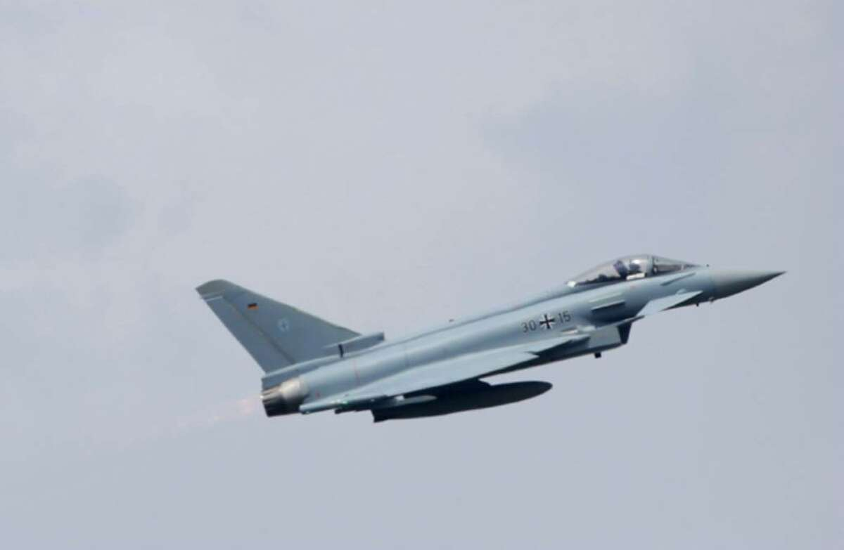 A Eurofighter military jet of the German Luftwaffe flies at the ILA Berlin Air Show on June 8, 2010 in Berlin, Germany. The 2010 ILA will run from June 8-13.