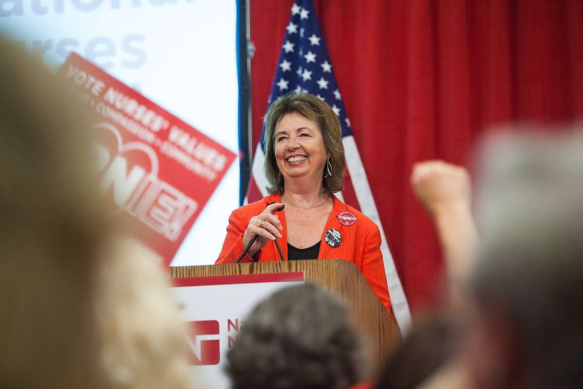 National Nurses United executive director RoseAnn Demoro speaks to members on Monday, Aug. 10, 2015, at NNU's headquarters in Oakland, California. NNU, the nation?'s largest organization of nurses, hosted a ?