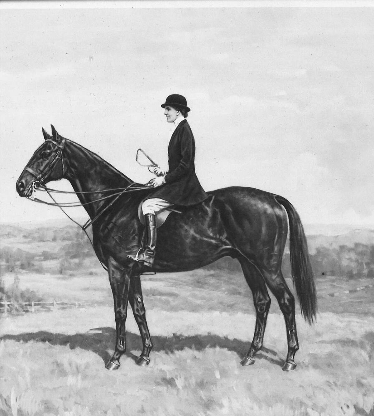 The cover of this past week's Greenwich Riding and Trails Association event program featured a photograph of a painting of the late Joan Fisher Faulkner astride her favorite horse,