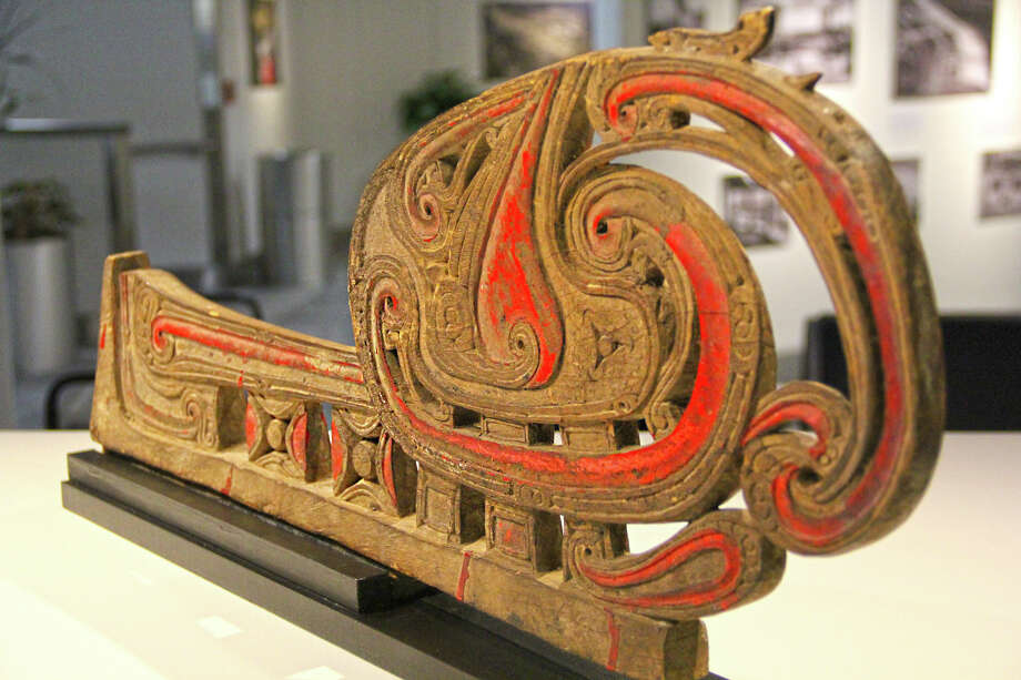 A wood carving on display at Lambert Airport. Photo: For The Edge
