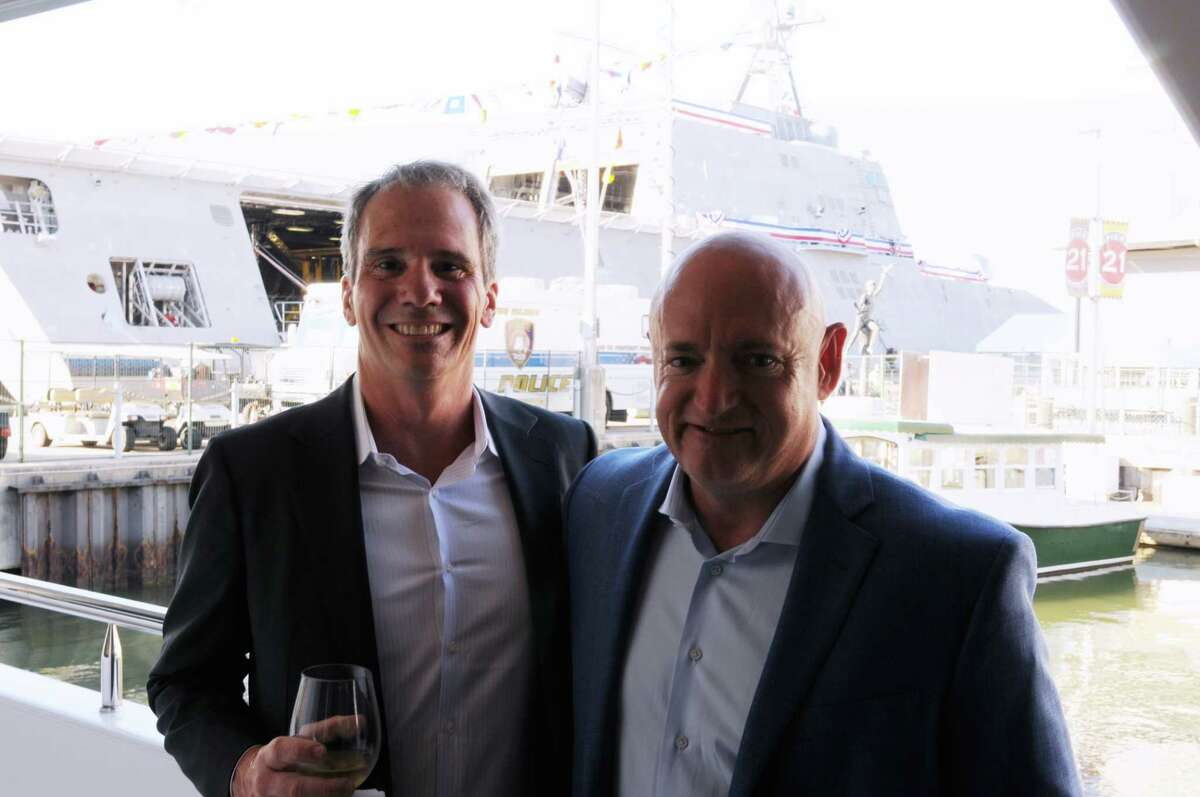 Jim Keppler and Mark Kelly at theUSS Gabrielle Giffords Commissioning party.