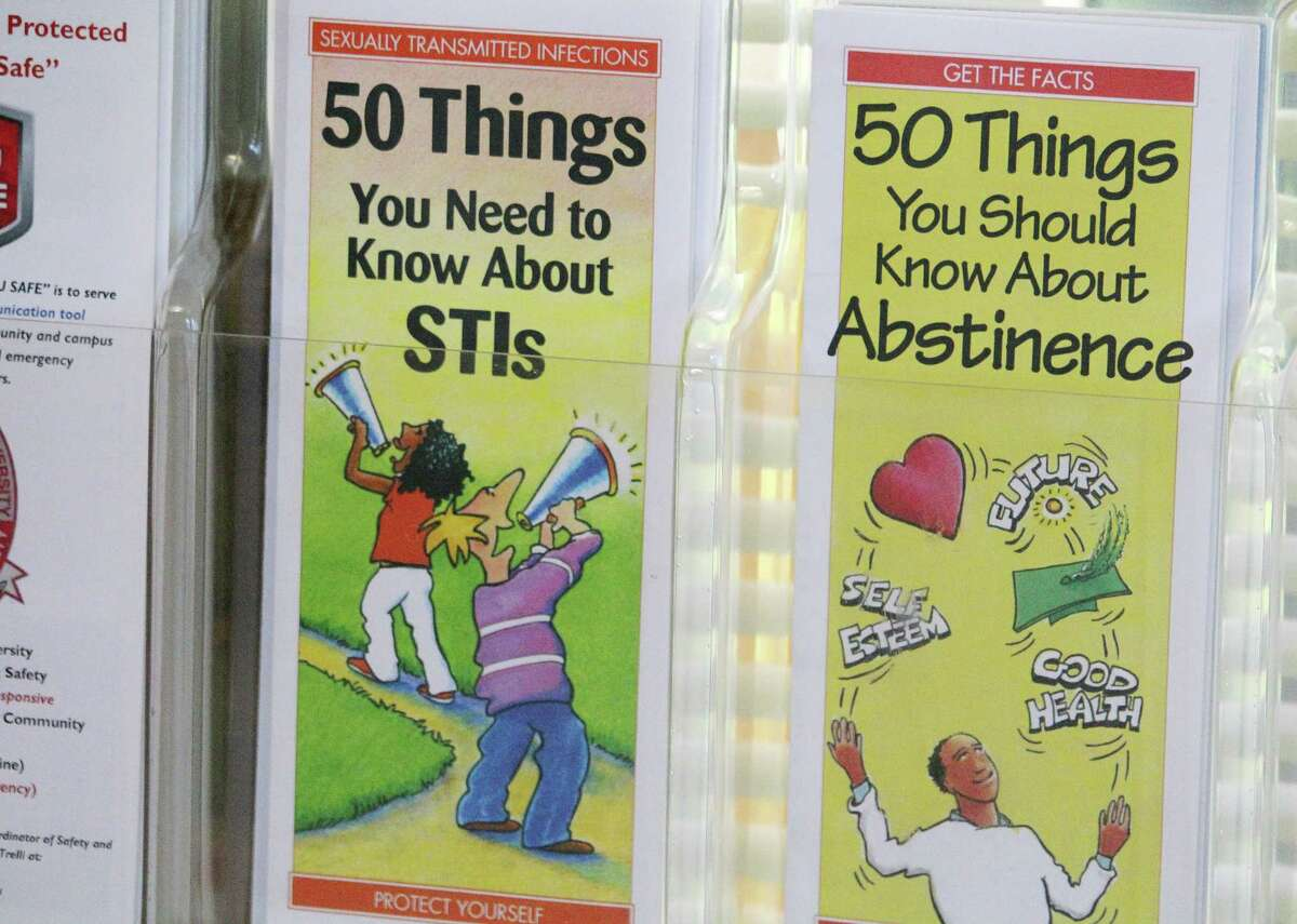 Pamphlets address STIs and abstinence at Sacred Heart University's Health & Wellness Center in Fairfield, Conn.