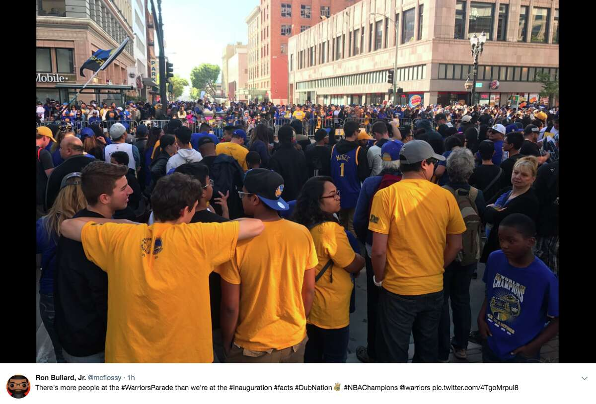 Twitter users watching the Warriors parade couldn't help but compare crowd sizes at the 2017 inauguration and Thursday's celebratory event.