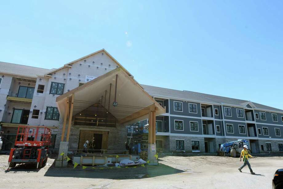 A view of the front entrance of the Residences at the Crossings construction site on Thursday, June 1, 2017, in Colonie, N.Y.  This is the second building at the site, with this one being larger than the first completed building.   (Paul Buckowski / Times Union) Photo: PAUL BUCKOWSKI / 40040637A