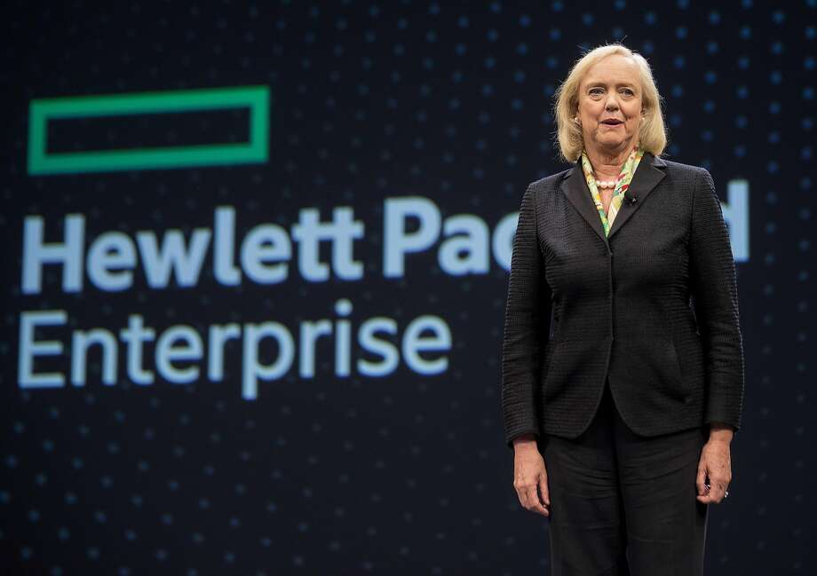 Meg Whitman, chief executive officer of Hewlett Packard Enterprise Co., speaks during the HP Discover 2017 Conference at the Sands Expo and Convention Center in Las Vegas, Nevada, U.S., on Tuesday, June 6, 2016. Photo: Jacob Kepler, Bloomberg