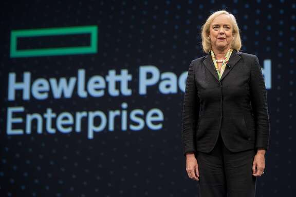 Meg Whitman, chief executive officer of Hewlett Packard Enterprise Co., speaks during the HP Discover 2017 Conference at the Sands Expo and Convention Center in Las Vegas, Nevada, U.S., on Tuesday, June 6, 2016.  Photographer: Jacob Kepler/Bloomberg News.