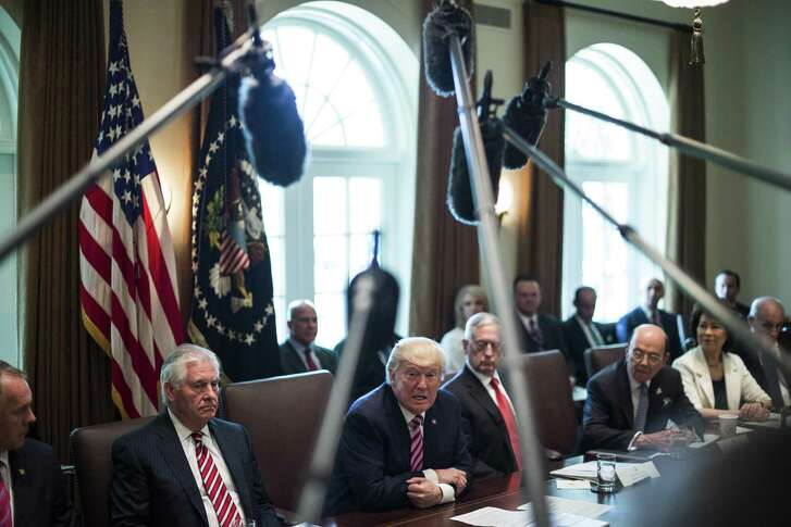 President Donald Trump speaks during a Cabinet meeting in the Cabinet Room of the White House on Monday. It amounted to a love fest for the president, with most members expressing their deep appreciation for his leadership.