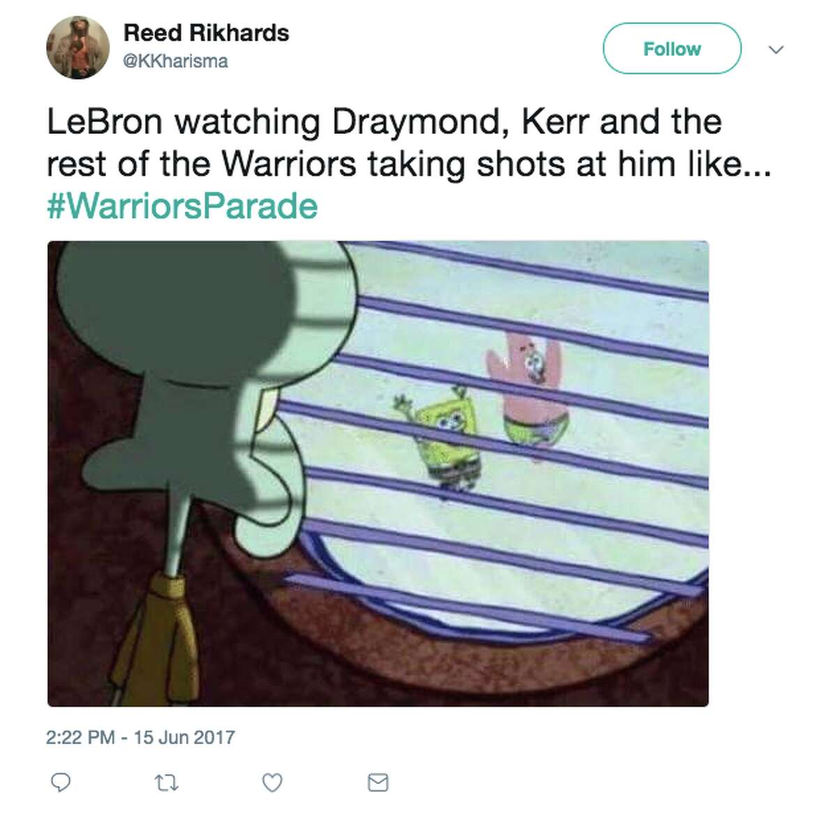 The best memes from the Warriors parade on June 15, 2017.