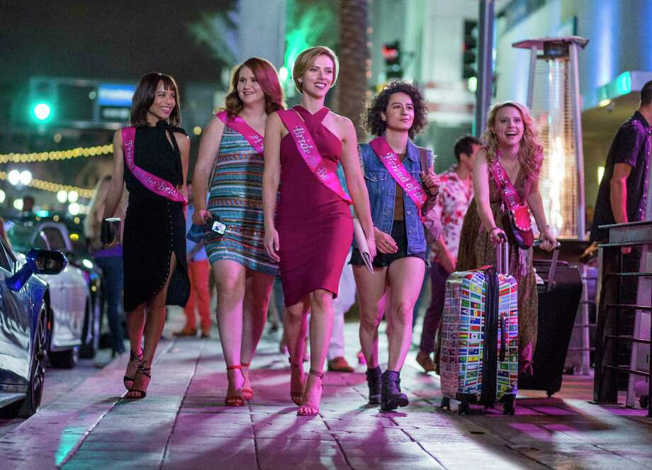 "Striking a blow for equality, ""Rough Night"" presents a bachelorette party every bit as rude and degrading as the bachelor party in ""The Hangover."" Fortunately, the cast is equally packed with famous and funny faces, including Scarlett Johansson, Kate McKinnon and Demi Moore.  Whenever the movie ""starts to sober up,"" says critic Peter Hartlaub, ""a new player comes along to get the party started again."" **Watch the trailerRead the full review Photo: Macall B. Polay, TNS / Columbia Pictures"