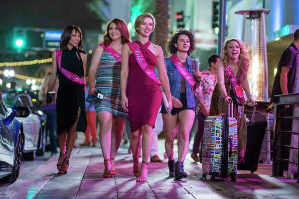 Left to right: Blair (Zoë Kravitz), Alice (Jillian Bell), Jess (Scarlett Johansson), Frankie (Illana Grazer) and Pippa (Kate McKinnon) in Columbia Pictures' 'Rough Night.' (Macall B. Polay/Columbia Pictures)