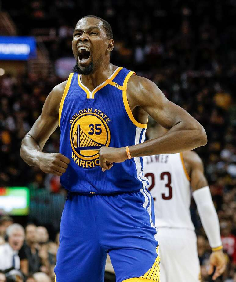 Golden State Warriors' Kevin Durant reacts in the fourth quarter during Game 3 of the 2017 NBA Finals at Quicken Loans Arena on Wednesday, June 7, 2017 in Cleveland, Ohio. Photo: Carlos Avila Gonzalez, The Chronicle