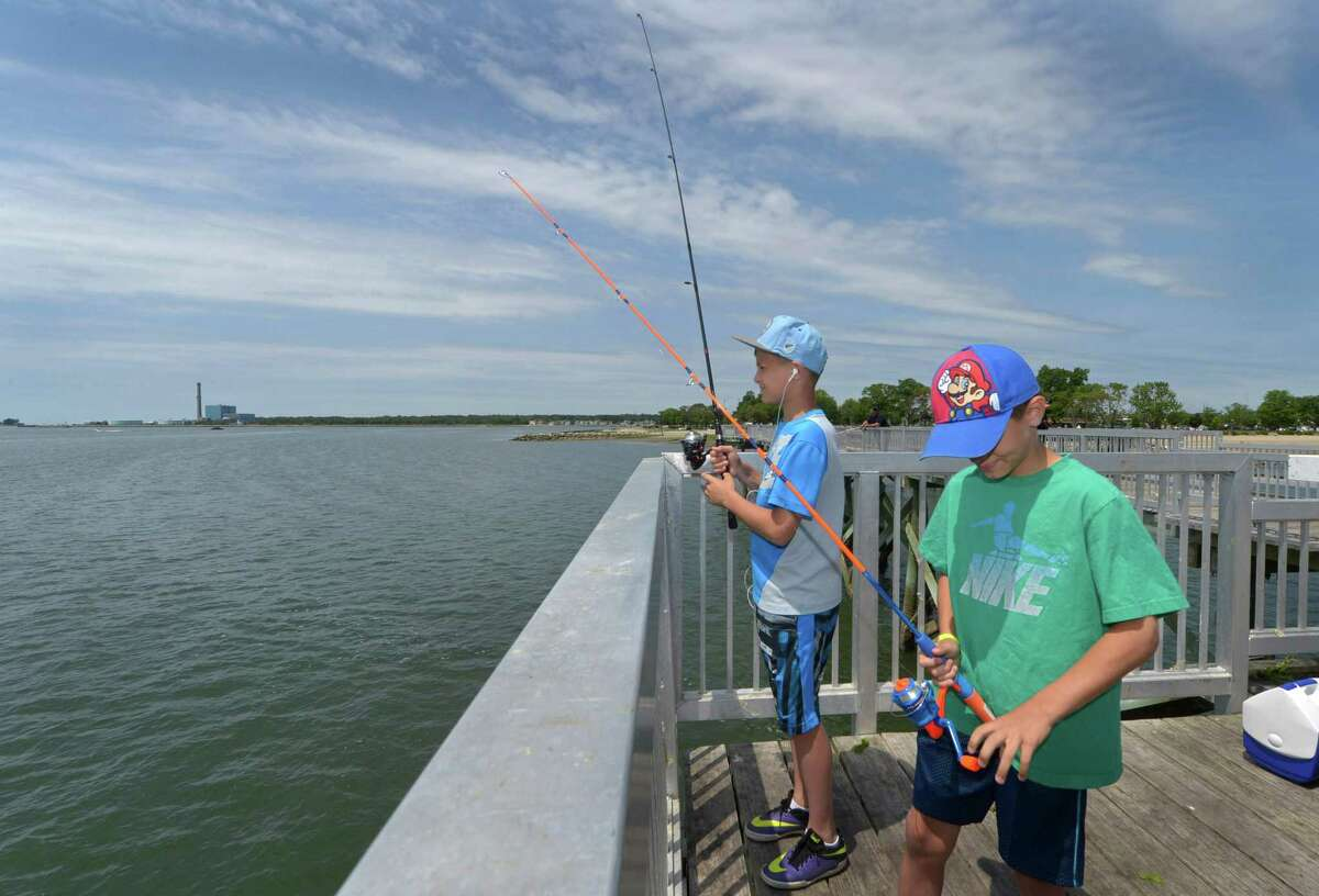 Kostaki Papakosmas and his brother Markos Papakosmas, 11 and 9, fish off the Captain William Clarke Pier Thursday, June 15, 2017 at Calf Pasture Beach in Norwalk, Conn. BRING HOME DINNER No fishing license? No problem. For Father's Day, the Department of Energy and Environmental Protection is offering one-day fishing licenses.