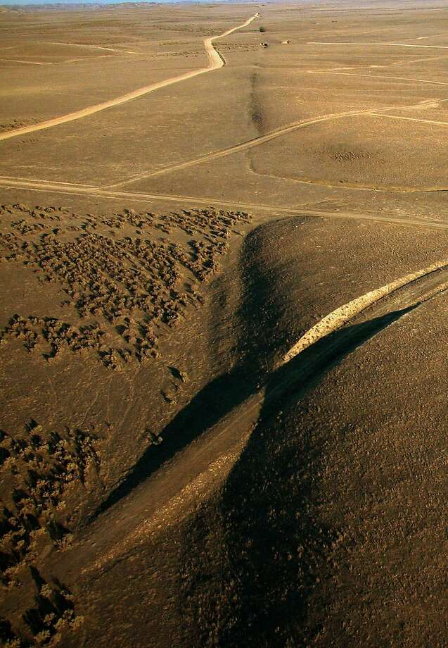 This recent aerial photo provided by United States Geological Survey, shows a view looking southeast along the surface trace of the San Andreas fault in the Carrizo Plain area of California.  Photo: Scott Haefner, AP