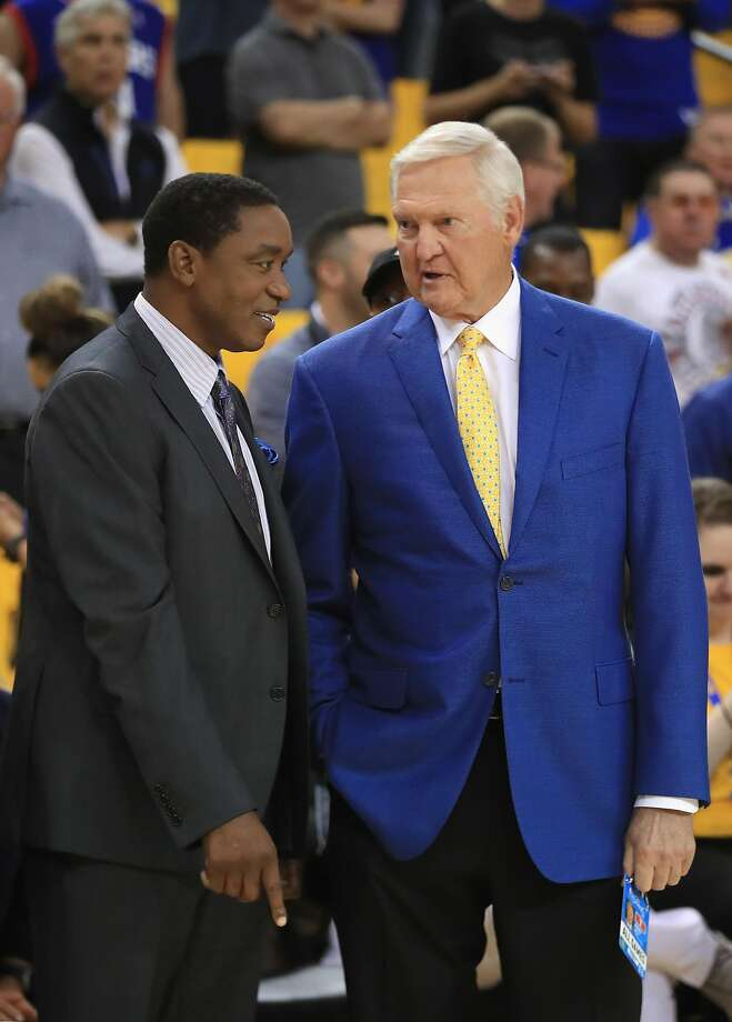 OAKLAND, CA - JUNE 01:  Former NBA players Isiah Thomas and Jerry West speak prior to Game 1 of the 2017 NBA Finals between the Golden State Warriors and the Cleveland Cavaliers at ORACLE Arena on June 1, 2017 in Oakland, California. NOTE TO USER: User expressly acknowledges and agrees that, by downloading and or using this photograph, User is consenting to the terms and conditions of the Getty Images License Agreement.  (Photo by Ezra Shaw/Getty Images) Photo: Ezra Shaw, Getty Images