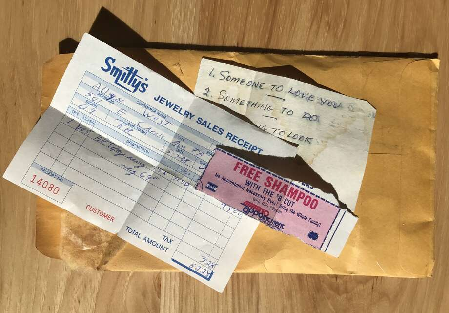 The artifacts my father left behind in the wallet he was wearing when he killed himself. Photo: Allyn West / Houston Chronicle