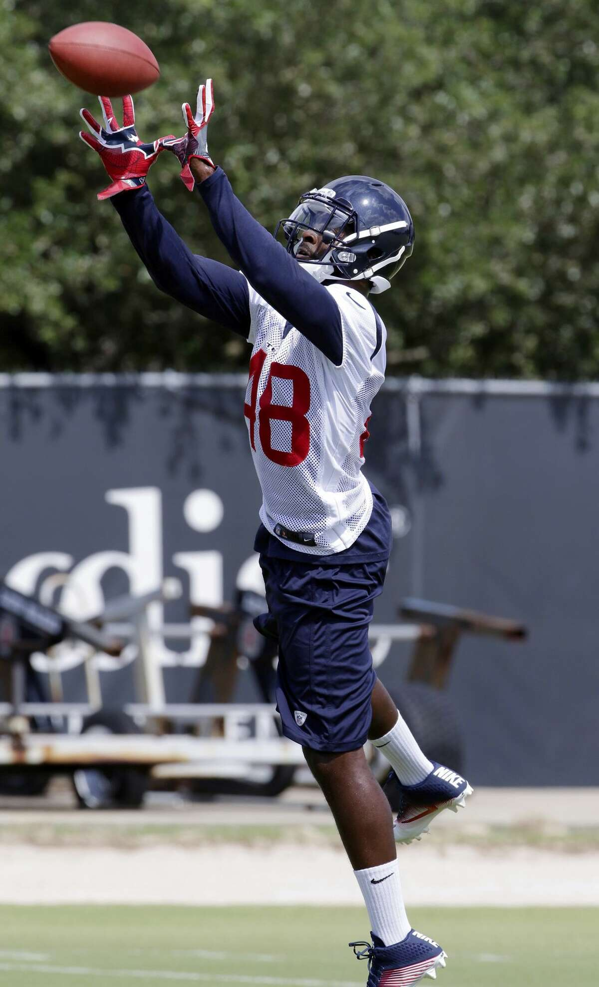 Houston Texans safety Jaiquawn Jarrett (48) catches passes during his tryout at NFL football practice Wednesday June 14, 2017, in Houston. (AP Photo/Michael Wyke)