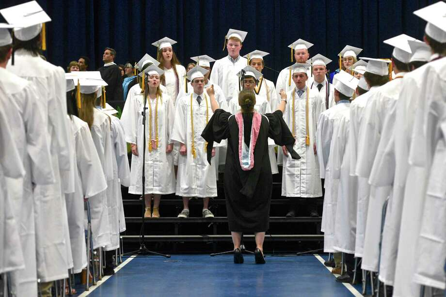 Senior members of the Joel Barlow Chorale perform the Star-Spangled Banner during the Joel Barlow High School, Class of 2017, Fifty-Seventh Annual Commencement Ceremony, on Thursday night, June 15, 2017, at the William A. O'Neill Center, Western Connecticut State University, Danbury, Conn. Photo: H John Voorhees III, Hearst Connecticut Media / The News-Times