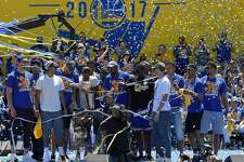 OAKLAND, CA - JUNE 15:  The Golden State Warriors celebrates their 2017 NBA Championship at The Henry J. Kaiser Convention Center during thier Victory Parade and Rally on June 15, 2017 in Oakland, California.  (Photo by Thearon W. Henderson/Getty Images)