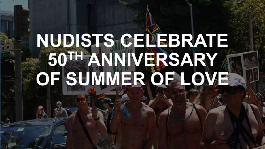 Nudists celebrated the 50th anniversary of the Summer of Love in the Castro.Click ahead to see photos of the celebration.